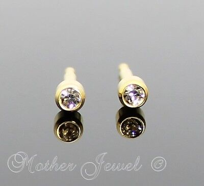 3MM LOCK BACK 24ct GOLD PLATED STUDEX GIRLS BOYS BABY BABIES EARRINGS STUDS