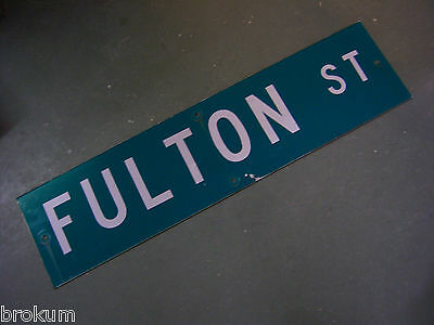 "Vintage ORIGINAL FULTON ST STREET SIGN WHITE ON GREEN BACKGROUND 36"" X 9"""
