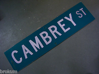 "Vintage ORIGINAL CAMBREY ST STREET SIGN WHITE ON GREEN BACKGROUND 36"" X 9"""