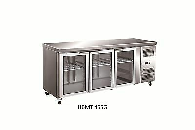 Three glass door under counter / bench commercial fridge for kitchen and cafe
