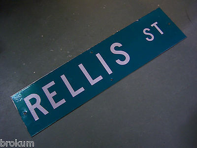"Vintage ORIGINAL RELLIS ST STREET SIGN WHITE ON GREEN BACKGROUND 36"" X 9"""