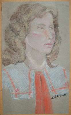 """PASTEL PORTRAIT OF A GIRL"" by Ruth Freeman PASTEL 8 3/4"" X 15"""