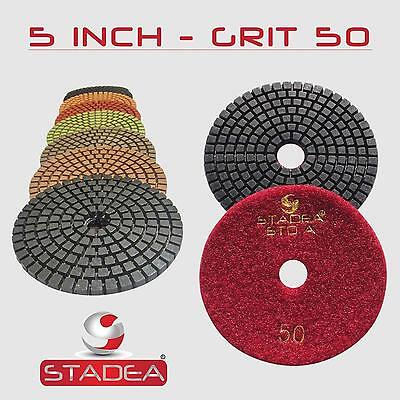 "STADEA 5"" Diamond Polishing Pad Grit 50 for Granite Concrete Wet Grinder Floor"