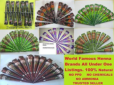 100 % NATURAL DARK COLOR HENNA CONES PASTE for temporary tattoo - Free Shipping