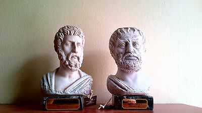 Sophocles and Aristotle Ancient Greek philosophers sculpture statue busts