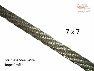 "Garden Wall Wire Rope-Stainless Steel 1/8"" - 3.2mm 7x7 316 Marine Grade Quality"
