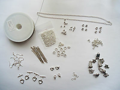 Findings Kit Silver Tone For Jewellery Making clasps Jump Rings Spacers pendants