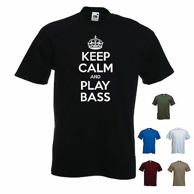 'Keep Calm and Play Bass' Music Band Electric Guitar T-shirt Tee Gift