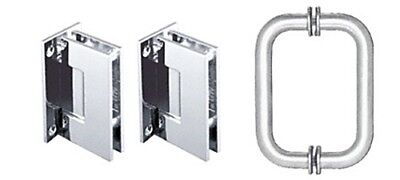 Polished Chrome Geneva Shower Pull and Hinge Set