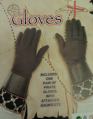 New below elbow length pirate gloves with attached gauntlets party/halloween