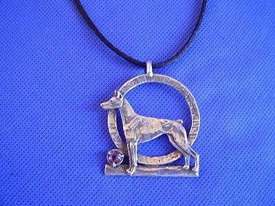 Original Sterling Silver Doberman necklace amethyst dog jewelry Cindy A.Conter