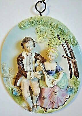 One of a kind!!! Antique Hand Painted Porcelain Wall Plaque