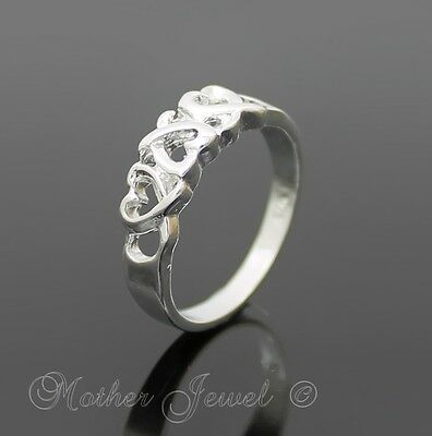 Designer Love Heart Sterling Silver Filled Womens Anniversary Wedding Band Ring
