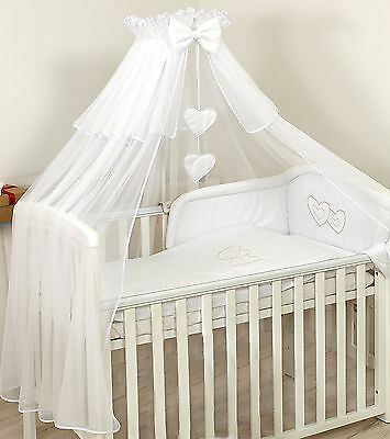 BABY COT/ BED CANOPY DRAPE-BIG 480cm  +HOLDER / ROD  -  COVERS 4 SIDES - White