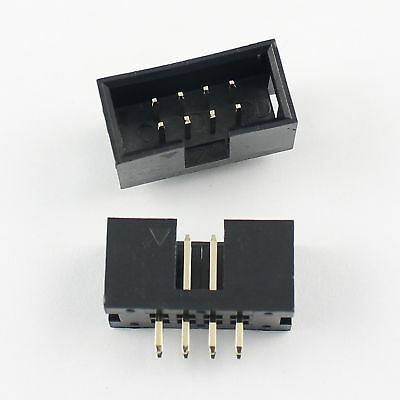 10Pcs 2.54mm 2x4 Pin 8 Pin Straight Male Shrouded PCB Box header IDC Socket