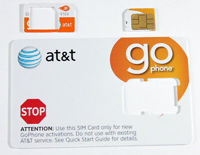 NEW  AT&T REPAID GO PHONE 3G MICRO SIM CARD FOR IPHONE 4/4S/IPAD, GALAXY S2/S3