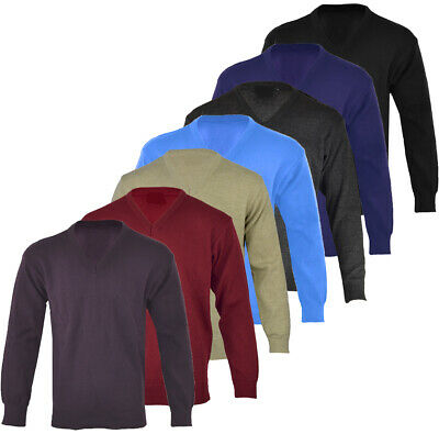 Mens Plain Casual Long Sleeve V - Neck Jumper Top Pullover Golf S-XXL