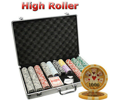 650pcs 14G HIGH ROLLER CASINO CLAY POKER CHIPS SET WITH ALUMINUM CASE