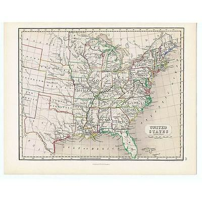 Antique Coloured Map 1846 - UNITED STATES OF AMERICA by Gellatly-Chambers Atlas