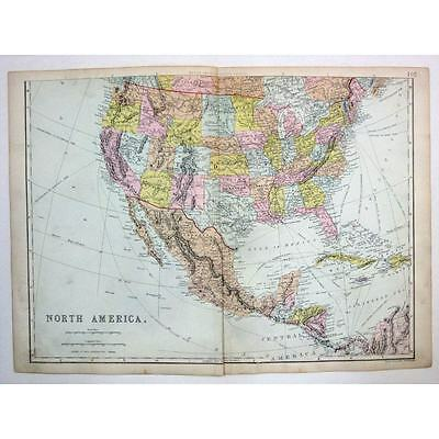 UNITED STATES OF AMERICA and MEXICO WEST INDIES - Antique Map 1880 by Bacon