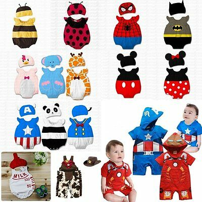 Baby Boy Girl First Christmas Fancy Dress Party Costume Outfit Clothes+HAT Set