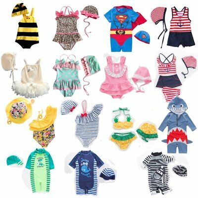Baby Kids Boy Girl Cute Beach Swimwear Swimsuit Swimming Costume+Hat Age 6M-5Yrs