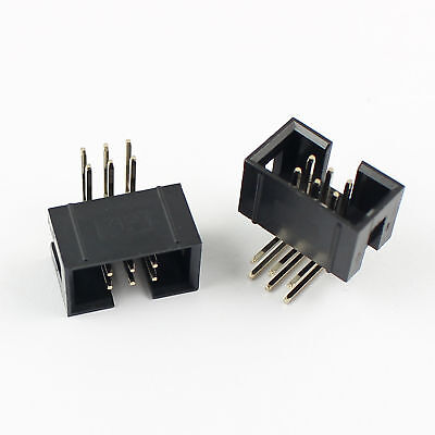 10 Pcs 2.54mm 2x3 Pin 6 Pin Right Angle Male Shrouded IDC Box Header Connector