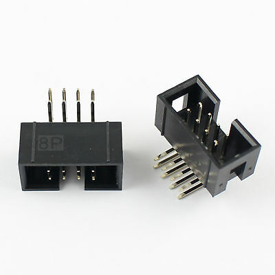 10 Pcs 2.54mm 2x4 Pin 8 Pin Right Angle Male Shrouded IDC Box Header Connector