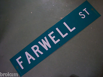 "Vintage ORIGINAL FARWELL ST STREET SIGN 42"" X 9"" WHITE LETTERING ON GREEN"