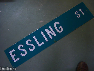 "Vintage ORIGINAL ESSLING ST STREET SIGN 42"" X 9"" WHITE LETTERING ON GREEN"