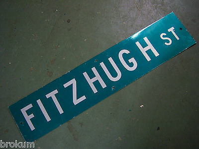 "Vintage ORIGINAL FITZHUGH ST STREET SIGN 42"" X 9"" WHITE LETTERING ON GREEN"