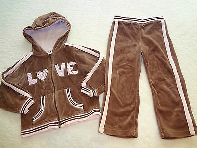 Girls Size 3 36 Months Brown & Pink Velvet Two Piece Love Jacket & Pants Outfit