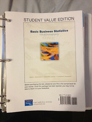 Basic Business Statistics, Student Value Edition by Berenson, LOOSE LEAF