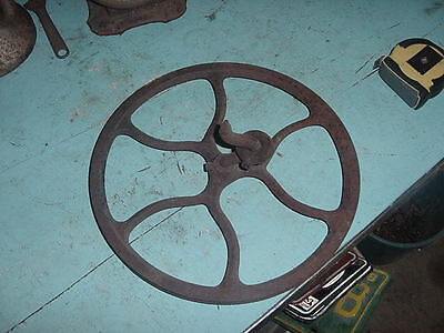 """Cast Iron Sewing Wheel Pulley 12 1/2"""" Industrial Machine Age Hit Miss Steampunk"""