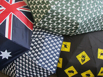 Souvenir Folding Umbrella - Aussie Flag Aboriginal Kangaroo -  Frame Warranty