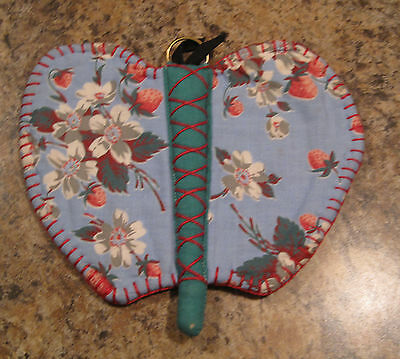 Gorgeous Vintage Hand Crocheted Pot Holder Old Feedbag Fabric Butterfly in Blue