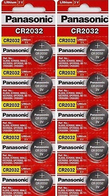 10 x SUPER FRESH Panasonic ECR2032 CR2032 Lithium Battery 3V Coin Cell Exp. 2028