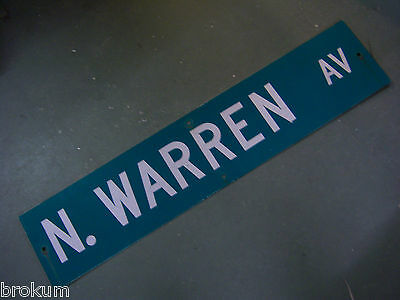 "Vintage ORIGINAL N. WARREN AV STREET SIGN 42"" X 9"" WHITE LETTERING ON GREEN"