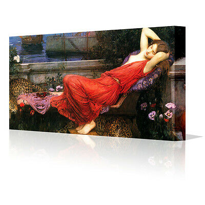 "JW Waterhouse Ariadne Modern 16x6"" Framed Canvas Wall Art Picture Print Decor"