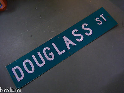 "Vintage ORIGINAL DOUGLASS ST STREET SIGN 42"" X 9"" WHITE LETTERING ON GREEN"