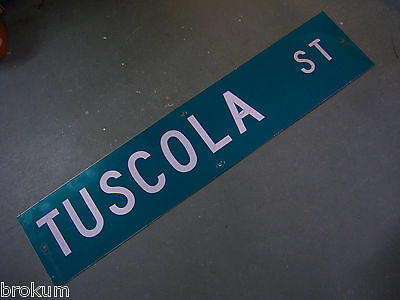 "Vintage ORIGINAL TUSCOLA ST STREET SIGN 42"" X 9"" WHITE LETTERING ON GREEN"