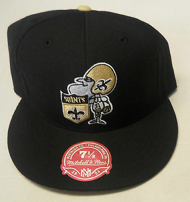 27071f3d7 NFL New Orleans Saints Mitchell and Ness Throwback Fitted Cap Hat M N ...