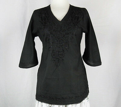 Indian Embroidered Boho Bollywood Top Tunic Shirt Kurtis Kurta Cotton Black