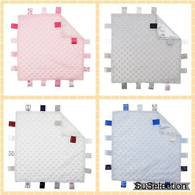 Soft Touch Baby Comforter Blanket Boy Girl Taggy-Blue/white/cream Or Pink - New