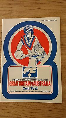 Great Britain v Australia 2nd Test 1978 Rugby League Programme