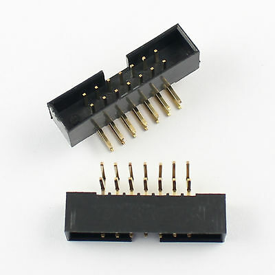 10Pcs 2mm 2x7 Pin 14 Pin Right Angle Male Shrouded Box Header IDC Connector