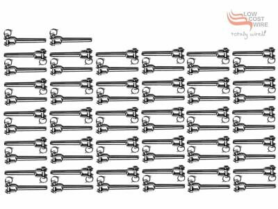 50 Pak 5mm 316 Grade Fork Terminals suits 3.2mm Stainless Steel Wire Rope