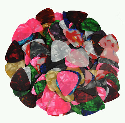 Lots of 100 pcs Thin 0.46mm Guitar Picks No Printing Celluloid Assorted Colors