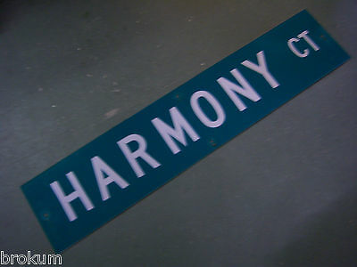 "Vintage ORIGINAL HARMONY CT STREET SIGN 42"" X 9"" WHITE LETTERING ON GREEN"