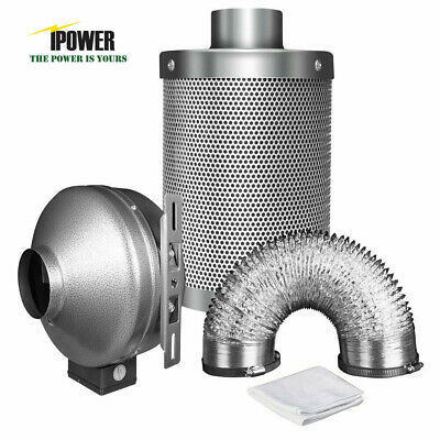 """iPower 4"""" 6"""" 8"""" inch Inline Exhaust Blower Fan Air Carbon Filter Ducting Combo"""